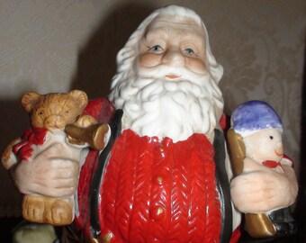 Santa Claus Ceramic Rotating Hand Painted Music Box