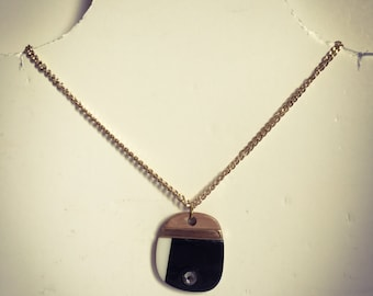 SALE Vintage fashion Handmade necklace with black and brown wood with rhinestone and gold chain