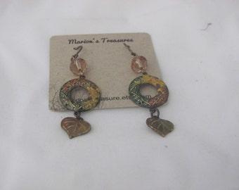 Autumn Fall Drop Vintaj Brass and Crystal Earrings