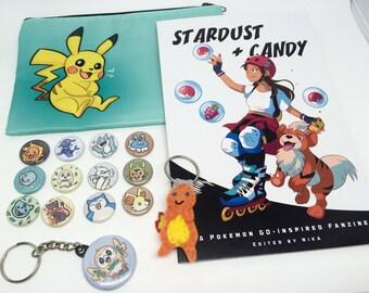 Pokemon Stocking Stuffer Gift Pack - Pokemon Go Pikachu pouch Pokemon starters buttons Charmander keychain Rowlet keychain