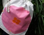 15% OFF Rare Retro Vintage SCUDA Drawstring Pink & Orange Canvas Tote, Beach Bag, Book Bag, Pillow Case