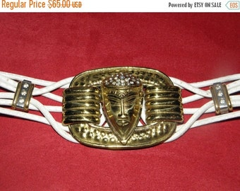 20% OFF Vintage 1980's Large Brass Rhinestone Goddess/Alien Buckle White Leather Belt,  Made in Italy