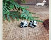 CLEARANCE! Zebra. Post Earrings -- (White, Black, Small, Simple, White and Black Studs, Stripe Studs, Vintage-Style, Gift For Her Under 5)