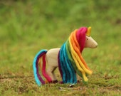 Rainbow Unicorn with Pink- Natural Body - Wooden toy