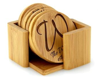 Monogrammed Personalized Custom Made Bamboo Round Coaster Set