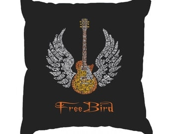 Throw Pillow Cover - Word Art - LYRICS TO FREEBIRD
