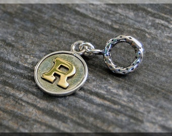 Sterling Silver and Gold Filled European Style Initial Charm, Handmade Personalized Slide Charm, Big Hole Bead, Gold Letter Charm