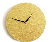 Sale, Unique Wall Clock, Gold Clock, Embossed Butterfly Decor, Home and Living, Decor & Housewares, Living Room Decor, Unique Gift
