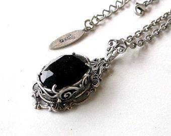 Black Gothic Necklace Victorian Crystal Necklace Swarovski Black Pendant Black Gothic Wedding Necklace Victorian Gothic Jewelry