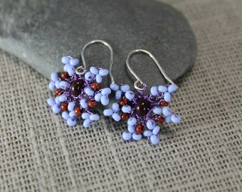 Blue and brown earrings, beaded earrings, bluebells, pastel blue, summer earrings, beach earrings, birthday gifts, gifts to her