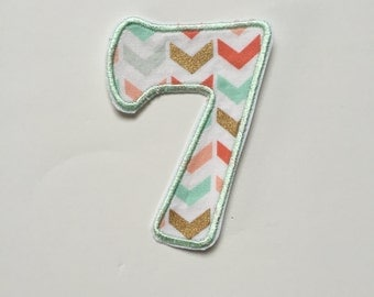 iron-on number 7 patch/ DIY birthday number patch