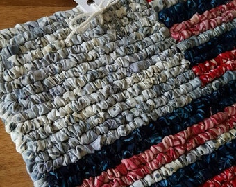 Americana Pot Holder, 12 x 8.5 Inch, Red White And Blue, Batik Flag, Housewares, Rustic Flag Mat, Patriotic Place Mat