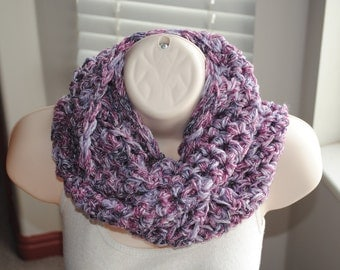 Sale 50% off was 10.00- the chunky purples crochet infinity scarf- discontinued yarn