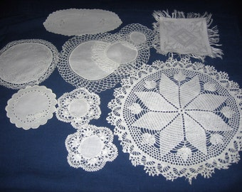 Vintage Crafting Doilies Ten Count Linen Crocheted Lace Handmade for Hostess Gift Christmas Holiday Table Decor Scrapbooking Snowflakes