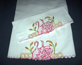 Swans Embroidered Pillowcases Matching Pair Vintage C 1950s White Cotton Pillowcases 18 X 31 In. With Pink Swans Hand Embroidered Edge