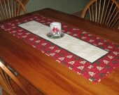 Quilted Table Runner, Metallic Christmas Trees on Red