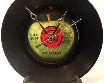 "Recycled BEATLES 7"" Record / Hey Jude / Record Clock"