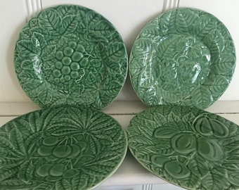 Vintage Bordallo Pinheiro Leaf and Fruit Pattern Salad Plate Set of FOUR  Made in Portugal Pottery