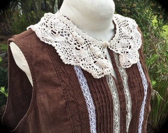 Rustic Rodeo Sweetheart Sleeveless Linen Top Prairie Shabby Chic Cowgirl Plus Size