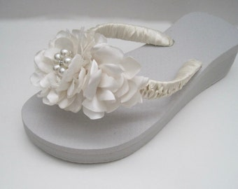 Flip Flops Bridal Wedding French Knotted Ivory Satin and Lace Handmade Flowers Choose Pearl and Rhinestone or all Rhinestone Accent Custom