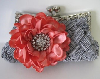 Stunning Grey Satin Pleated Front Crystal Frame Clutch with a Handmade Coral Satin Open Rose and a Gorgeous Rhinestone Brooch Accent