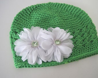 Baby Hat Green Crochet Kufi Beanie with White Chiffon Flowers and Beautiful Green Rhinestone Accents  12 month and Up