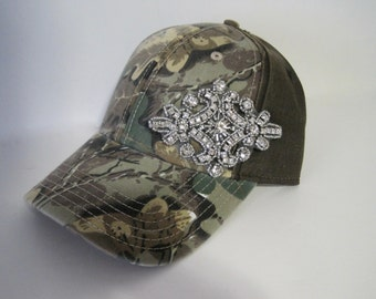 Baseball Trucker Cap Hat Camouflage with Gorgeous Rhinestone Accent Accessories Truckers Caps Hats