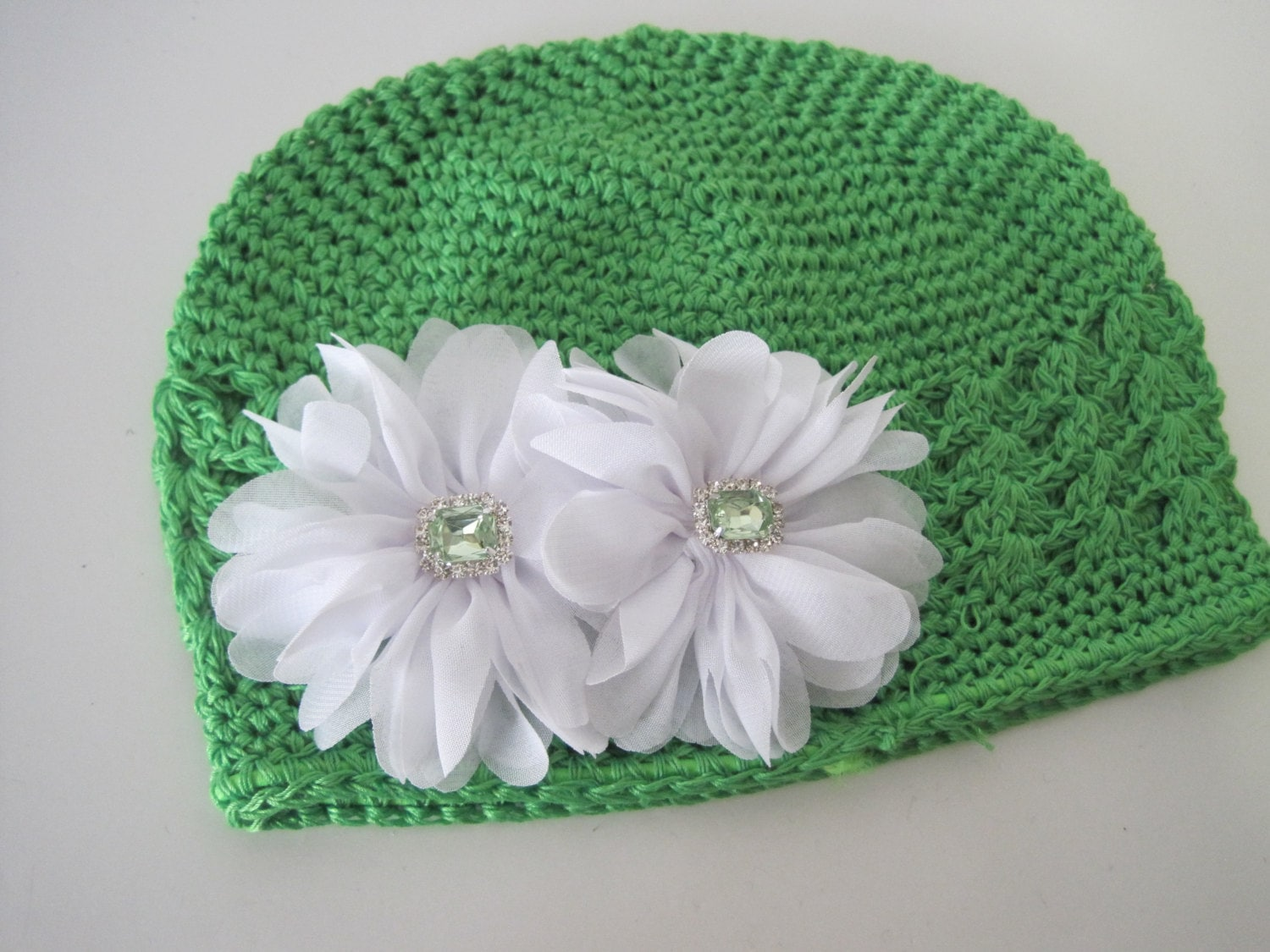 Kufi Beanie Hat Crochet Pattern : Baby Hat Green Crochet Kufi Beanie with White Chiffon Flowers