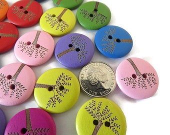 50  x Round Wood  Buttons - 2-hole Round Buttons - 2-hole 20mm Wood Buttons