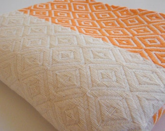 Turkish Towel Baclawa Pattern Peshtemal towel in ivory and orange Cotton hand loomed soft