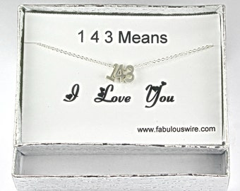 143 I Love You Necklace, Silver Love Necklace, Lovers, Couple, Mother Daughters, Sisters Jewelry, Number Necklace, Anniversary Gift Y07861