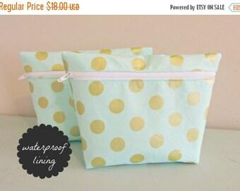 BACK 2 SCHOOL SALE Polka Dot Makeup Bag - Glitz Fabric -  Cosmetic Bag - Waterproof Bag - Wet Bag