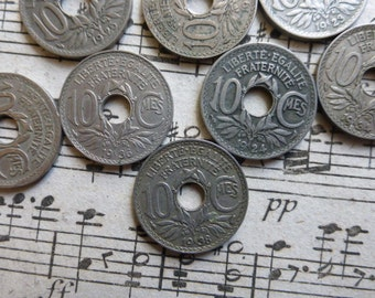 10 French 10 Centimes Vintage Coins with Holes.  Ideal For Jewelry and Crafts