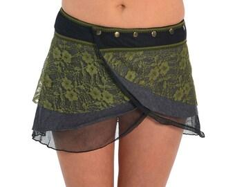 PIXIE skirt, ASSORTED COLOURS - psytrance skirt, elf skirt, ethnic skirt, goa Skirt, wrap Skirt, Pixie Mini Skirt, Ljskra