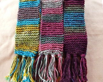 Hand-Knitted Bulky Variegated Acrylic Yarn Neck Scarves