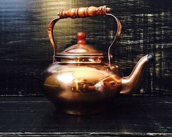 Vintage Tea Kettle, Teapot , Vintage Copper Tea Pot