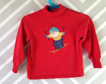 vintage winter turtleneck with skier applique by playstuff size 2-3 years