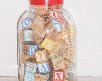 Vintage Jar with Children's Blocks