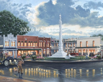 "Franklin, Tennessee, Town Square 14x18"" Unframed Giclee Print by local artist Raymon Troup"