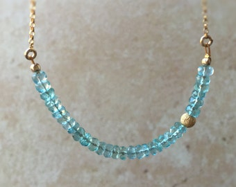 Apatite Bar Necklace Dainty Gold Jewelry Aqua Blue Apatite Gift for Her Anniversary Jewelry Bridesmaid Gift Mother Necklace