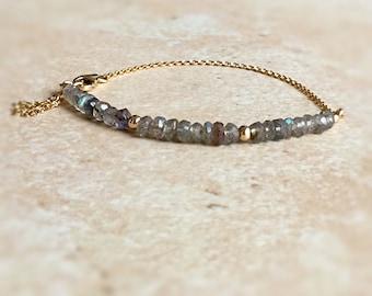 Labradorite Bracelet Tassel Bracelet  Dainty Gold Jewelry Labradorite Jewelry Gift for Women Fine Jewelry Stackable Bracelet