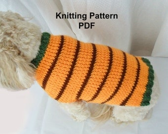 Dog sweater knitting pattern - PDF orange striped small dog sweater
