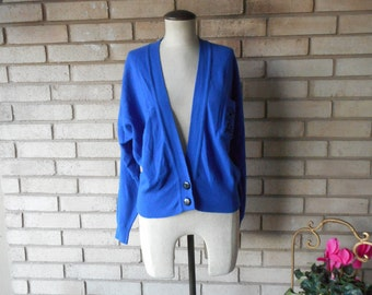 Vintage 80s Cobalt Royal Blue Lambs Wool Angora Scottish Sweater Jersey Cardigan Jaeger Size Small Medium