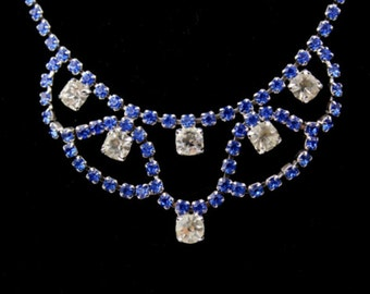 Blue Rhinestone Necklace, Aurora Borealis Glass, Festoon, Bib, Art Deco Vintage Jewelry, VALENTINE SALE