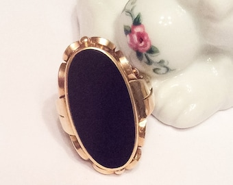 Art Nouveau Ring, Gold Ring, Onyx, Vintage Jewelry, FALL SALE