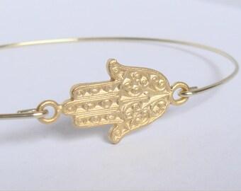 Gold hamsa bracelet - Gold hamsa bangle - Hippie Boho gypsy bracelet - Kabbalah jewelry - Minimalist jewelry