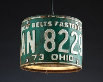 Ohio License Plate Pendant Shade Round - Man Cave - Garage - Repurposed - Upcycle - Automotive Lamp - Transportation Light - Handmade