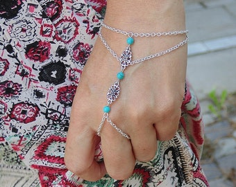 Flowers and Turquoise Slave Bracelet Hand Chain Piece Bohemian Boho Chic Hippie Vintage Hipster Ethno Gypsy Body Jewelry