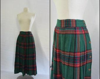 plaid, cotton, pleated skirt, s/m