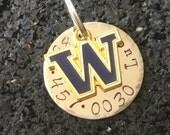 University of Washington custom Dog ID Tag, huskies Fan, Dog Collar, dog Tag phone number